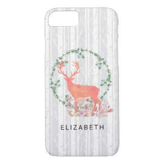 Rustic Reindeer Boho Watercolor Personalized iPhone 8/7 Case
