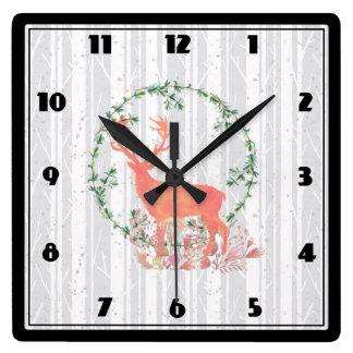 Rustic Reindeer Boho Watercolor Square Wall Clock