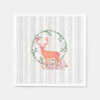 Rustic Reindeer Boho Wreath Watercolor Disposable Napkin