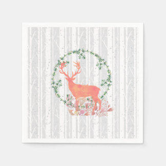 Rustic Reindeer Boho Wreath Watercolor Paper Serviettes