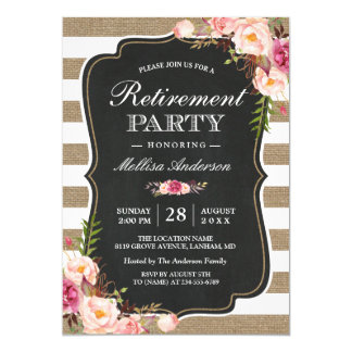 Floral retirement party invitations announcements zazzle rustic retirement party floral burlap stripes card stopboris Image collections