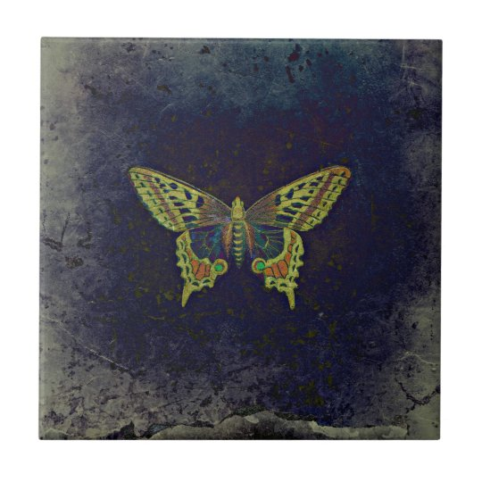Rustic Retro Butterfly Small Square Tile