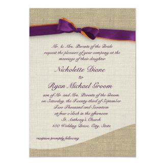 Rustic Ribbon and Burlap Orange and Purple Wedding 13 Cm X 18 Cm Invitation Card