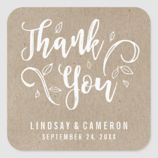 Rustic Romance Personalized Thank You Stickers