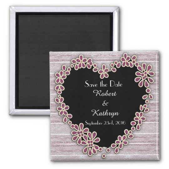 Rustic & Romantic Heart Save the Date Square