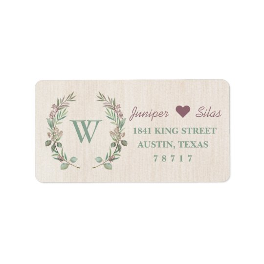 Rustic & Romantic Return Address Label
