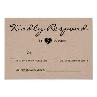 Rustic Romantic Suite Wedding RSVP Card 9 Cm X 13 Cm Invitation Card