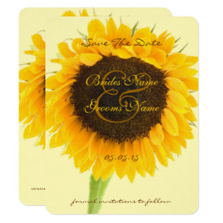 Rustic Romantic Sunflower Wedding Save the Date Card
