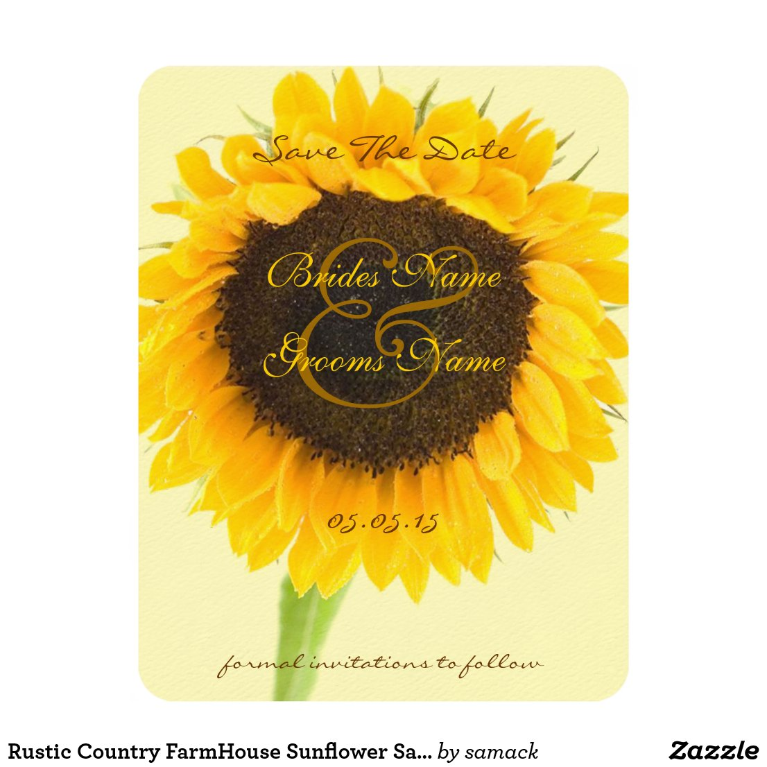 Rustic Romantic Sunflower Wedding Save the Date