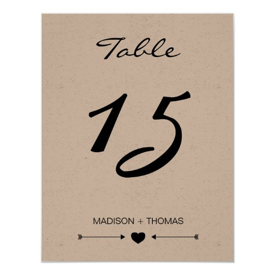 Rustic Romantic Table number card | Kraft template