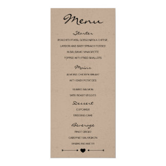 Rustic Romantic Wedding Menu with heart and arrows 10 Cm X 24 Cm Invitation Card
