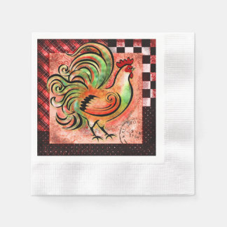 Rustic Rooster - Red Version - Napkin Paper Napkins