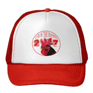Rustic Rooster Year 2017 white red Hat