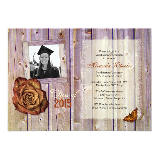 Rustic Rose Butterfly Girl Grad Photo Invite