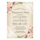 Rustic Rose Floral Burlap Lace Engagement Party Card