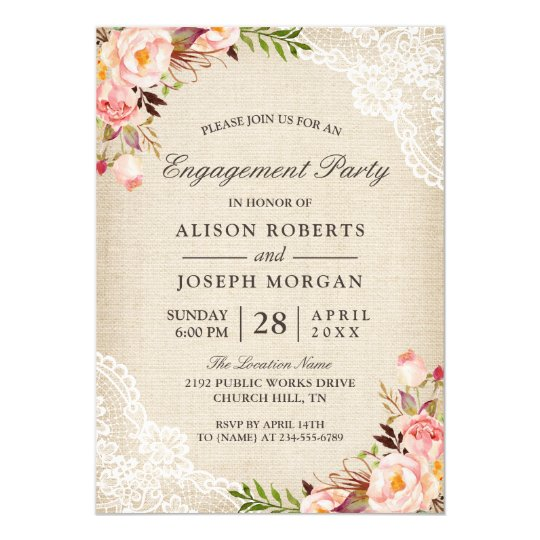 Rustic rose floral burlap lace engagement party invitation zazzle rustic rose floral burlap lace engagement party invitation stopboris Images
