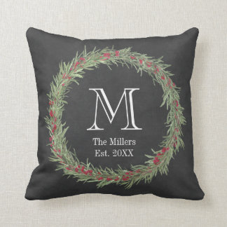 Rustic Rosemary and Berries Watercolor/Chalkboard Cushion