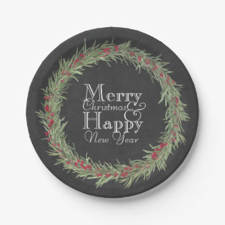 Rustic Rosemary and Berries Watercolor/Chalkboard Paper Plate
