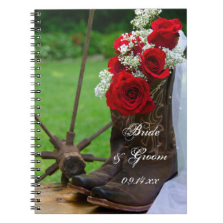 Rustic Roses and Cowboy Boots Country Wedding Notebooks