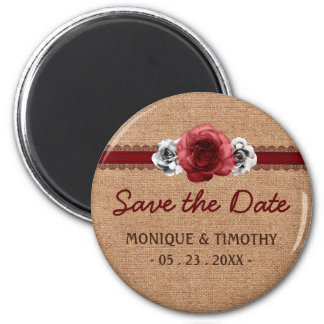 Rustic Roses - Burlap Lace Save the Date Fridge Magnets