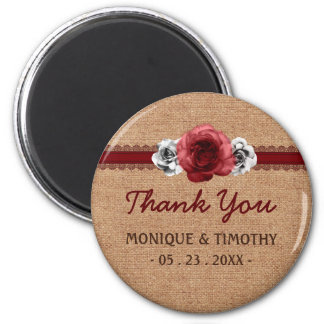 Rustic Roses - Burlap Lace Wedding Thank You Refrigerator Magnet