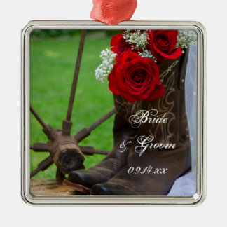 Rustic Roses Country Wedding Christmas Ornament