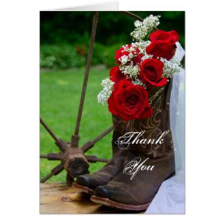 Rustic Roses Cowboy Boots Bridesmaid Thank You Card