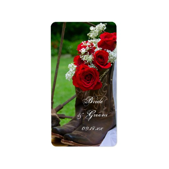Rustic Roses Cowboy Boots Country Western Wedding Address Label