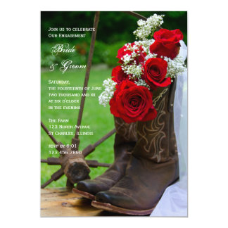 Rustic Roses Cowboy Boots Engagement Party 5x7 Paper Invitation Card