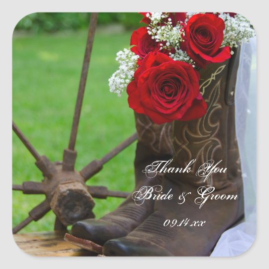 Rustic Roses Cowboy Boots Wedding Thank You Tag