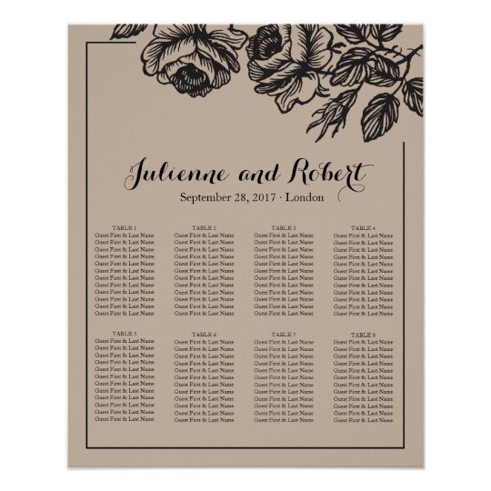 Rustic Roses Floral Wedding Seating Chart Poster