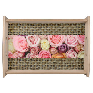 Rustic Roses on Burlap Serving Tray