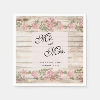Rustic Roses On Wood Wedding Disposable Serviette