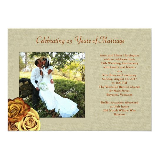 Rustic Roses Photo Marriage Vow Renewal Invitation