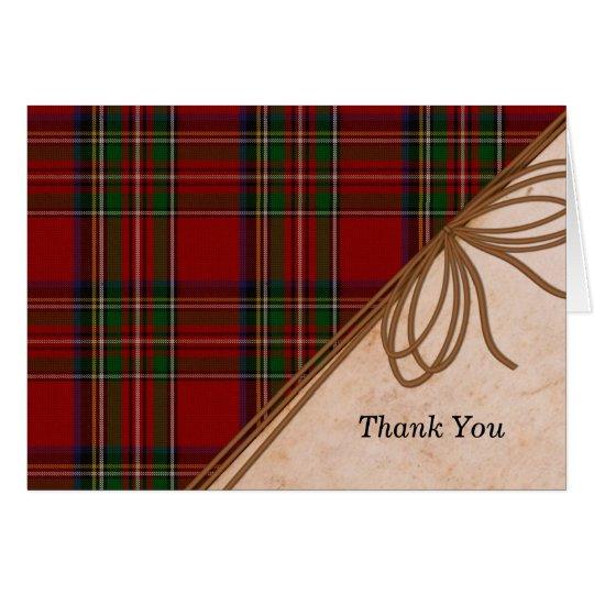 Rustic Royal Stewart Plaid Thank You Note Card