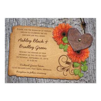 "Rustic Rusty Heart Orange Daisy Country Wedding 5"" X 7"" Invitation Card"