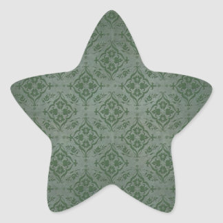 Rustic Sage Green and Pewter Damask Star Sticker