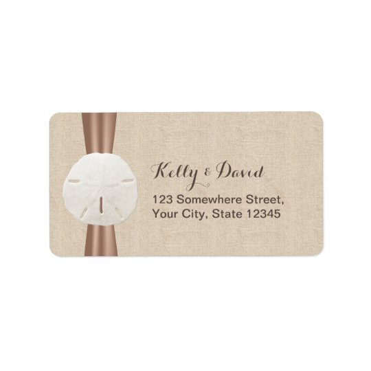 Rustic Sand Dollar Burlap Return Address Labels