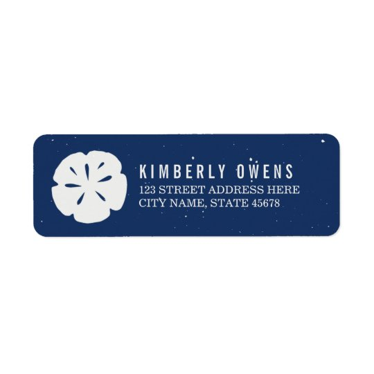 Rustic Sand Dollar Return Address Labels / Navy