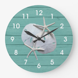 Rustic Sand Dollar Starfish Wall Clock