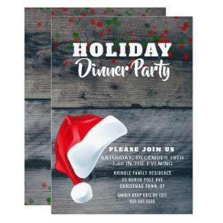 Rustic Santa Claus Holiday Dinner Party Invitation
