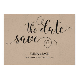 Rustic Save the Date Card - Calligraphy