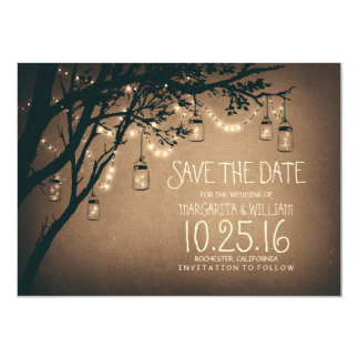 Rustic Save the Date & Fireflies Mason Jars 11 Cm X 16 Cm Invitation Card