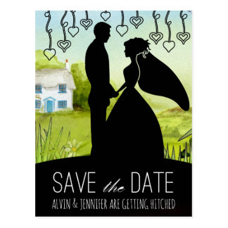 Rustic Save the Date Green Aquarelle Country Postcard