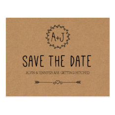 Rustic Save the Date / Kraft Paper Save the date Postcard at Zazzle