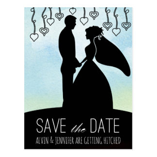 Rustic Save the Date Ocean Aquarelle Blue Sky Postcard
