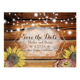 Rustic Save the Date Postcard with Sunflowers
