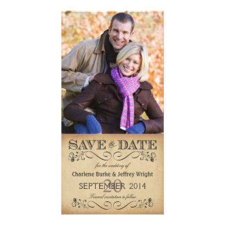 Rustic Save the Date Wedding Photocards Photo Card Template