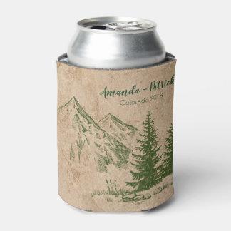 Rustic Scenic Mountain Range Wedding Can Cooler
