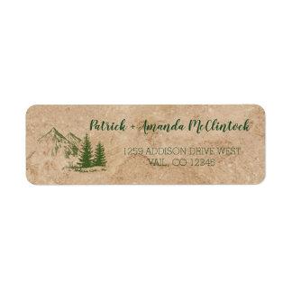 Rustic Scenic Mountain Range Wedding Label